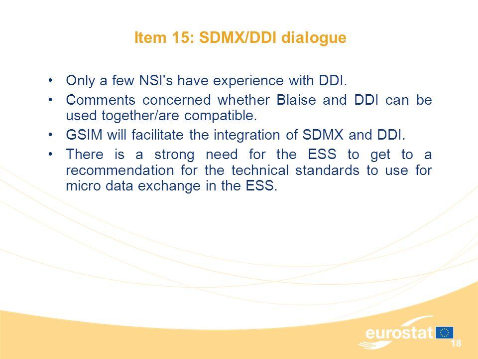 Item 15: SDMX/DDI dialogue