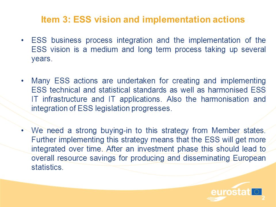 Item 3: ESS vision and implementation actions