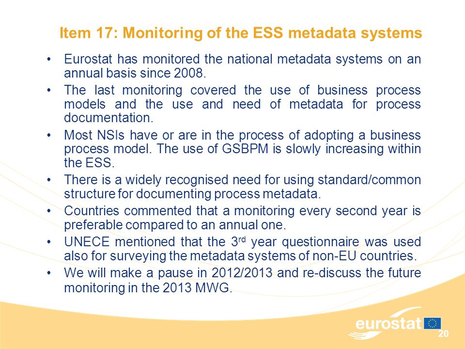 Item 17: Monitoring of the ESS metadata systems