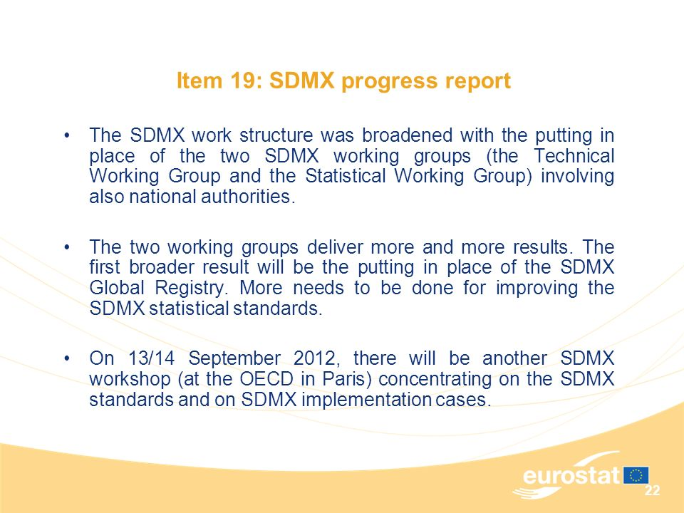 Item 19: SDMX progress report