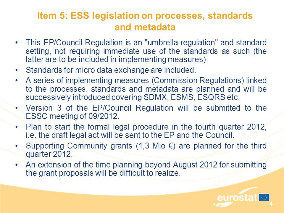 Item 5: ESS legislation on processes, standards and metadata