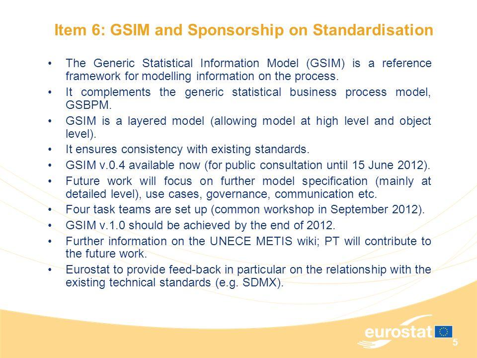 Item 6: GSIM and Sponsorship on Standardisation