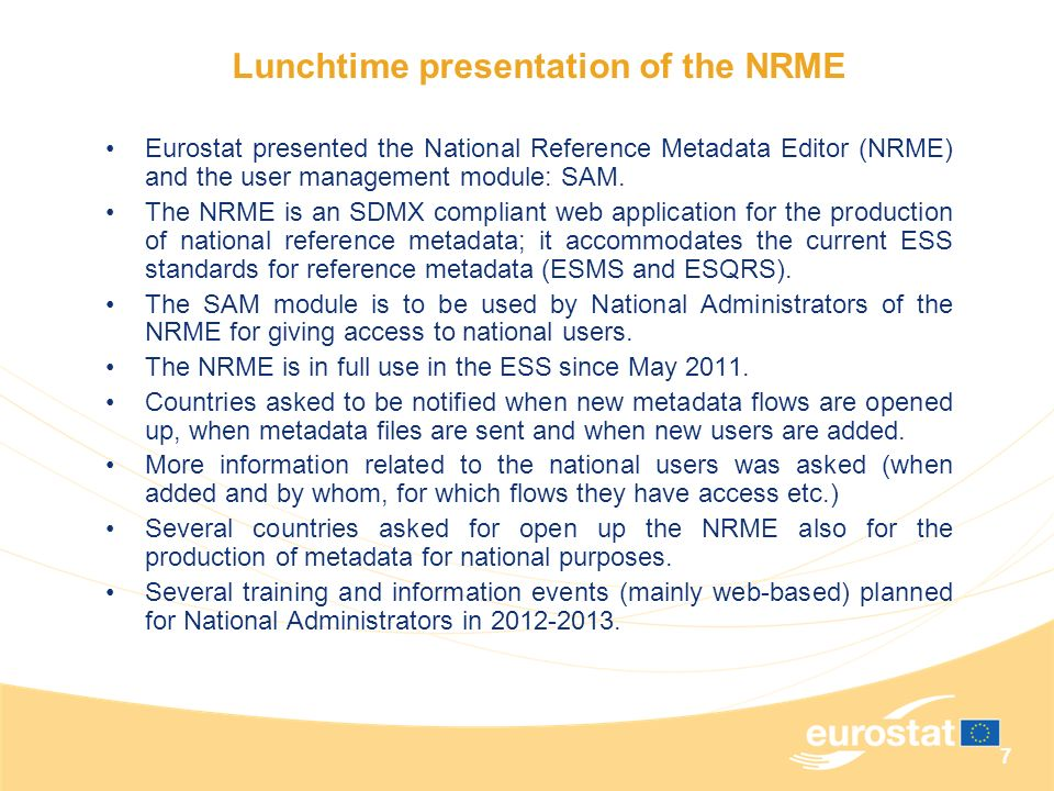 Lunchtime presentation of the NRME