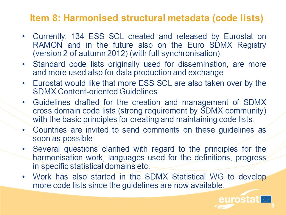 Item 8: Harmonised structural metadata (code lists)