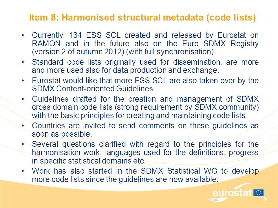 Item 8: Harmonised structural metadata (code lists)