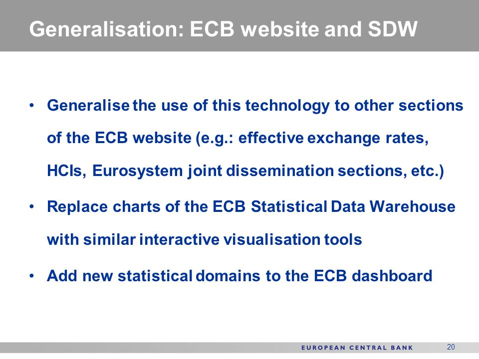 Generalisation: ECB website and SDW