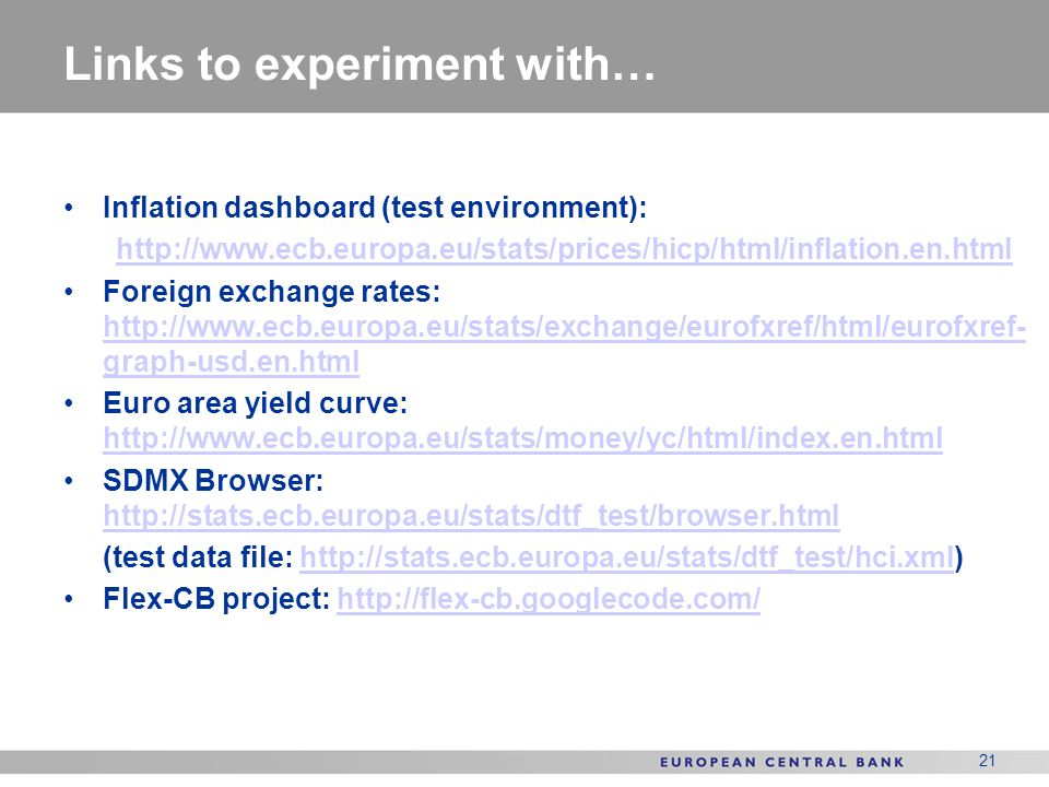 Links to experiment with…
