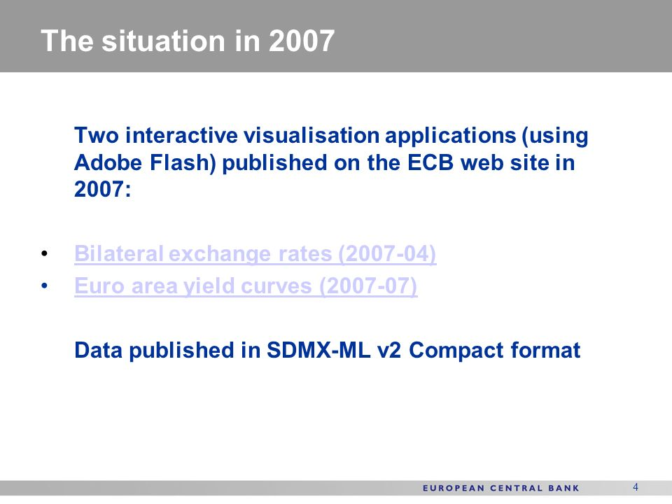 The situation in 2007 Two interactive visualisation applications (using Adobe Flash) published on the ECB web site in 2007: