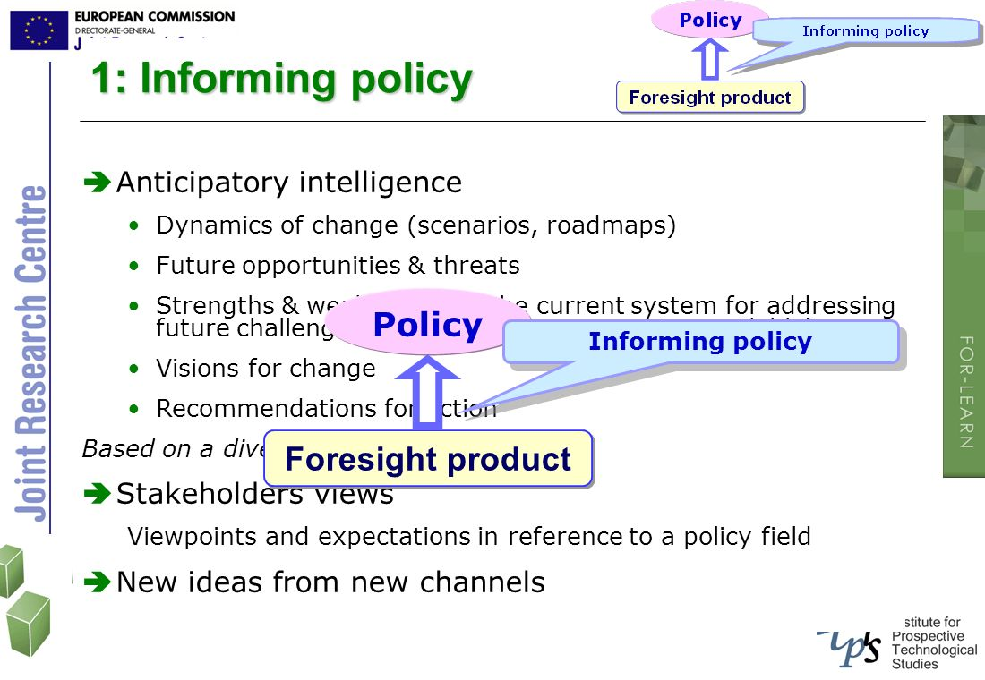 1: Informing policy Policy Foresight product Anticipatory intelligence