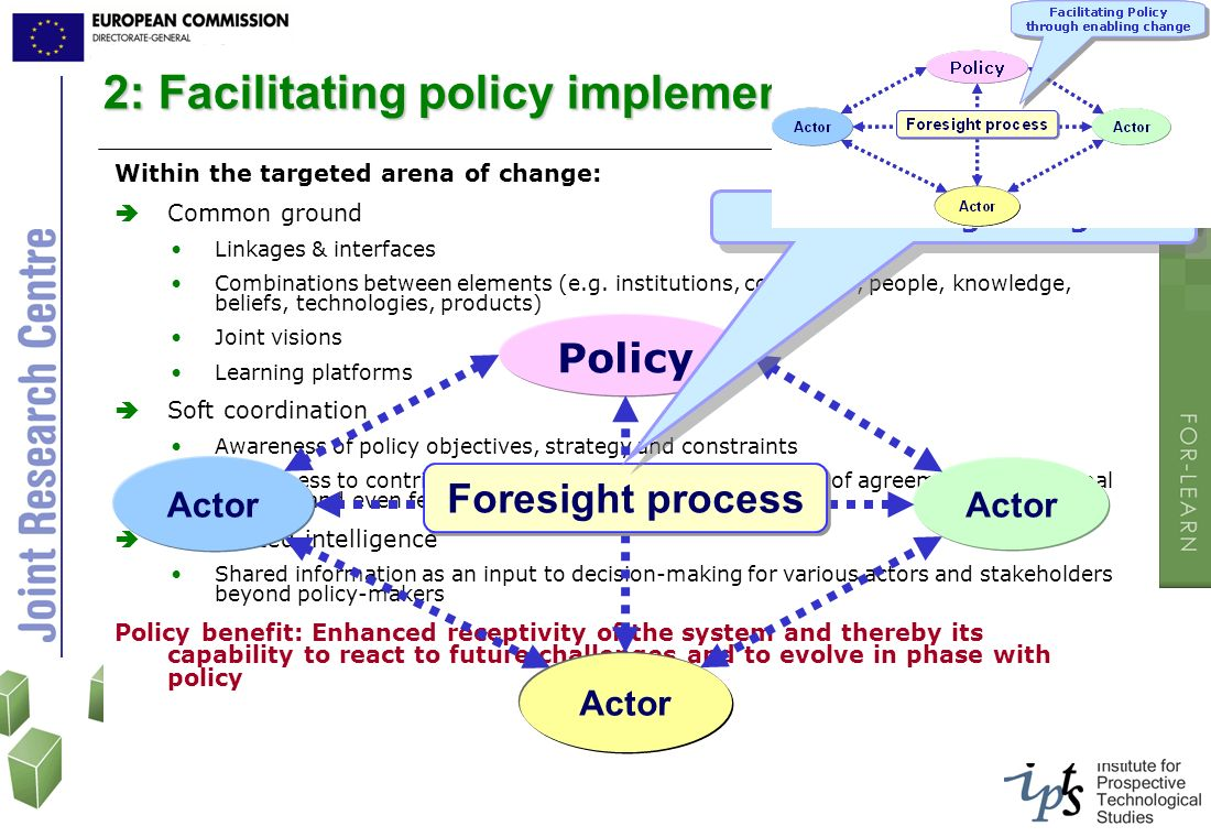 2: Facilitating policy implementation