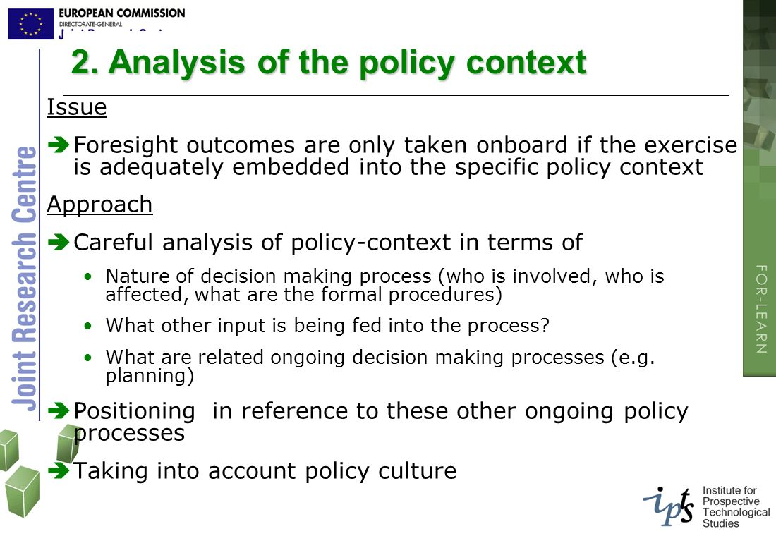 2. Analysis of the policy context