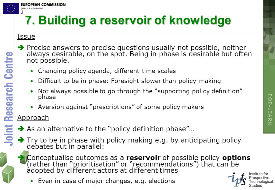 7. Building a reservoir of knowledge