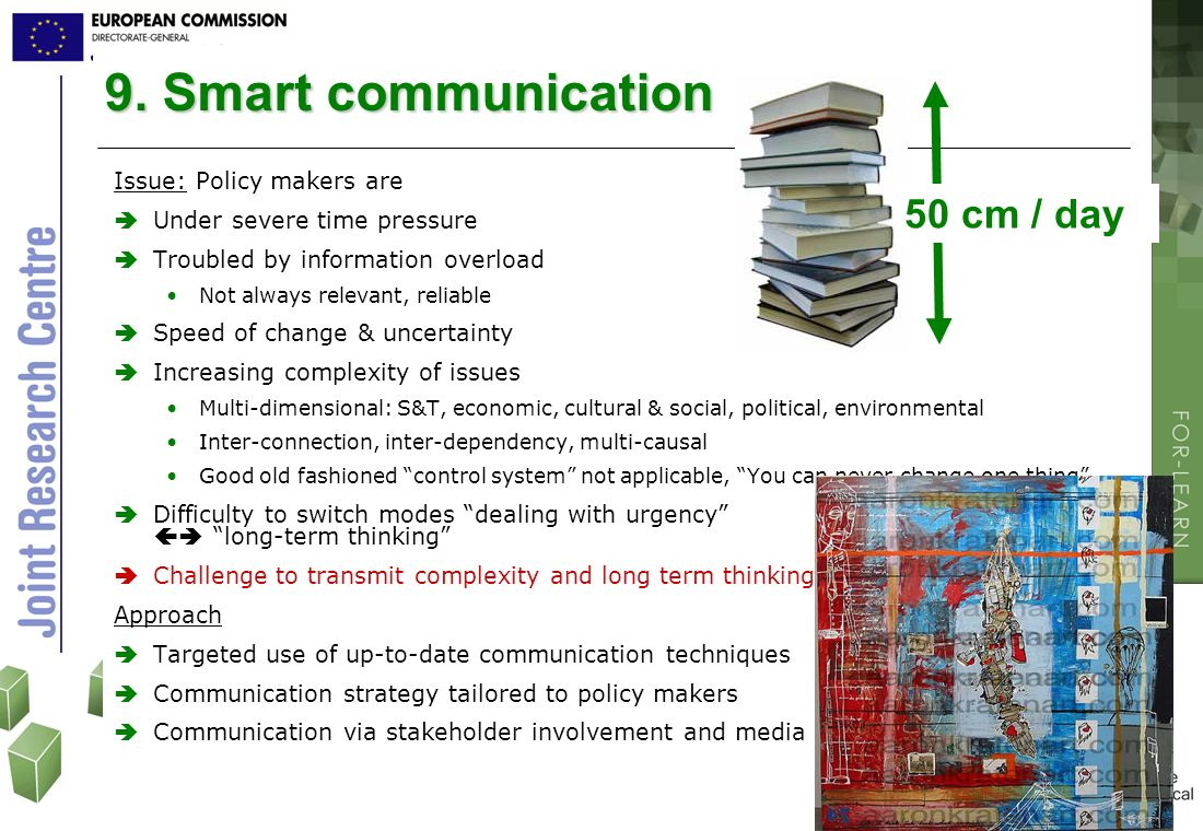 9. Smart communication 50 cm / day Issue: Policy makers are
