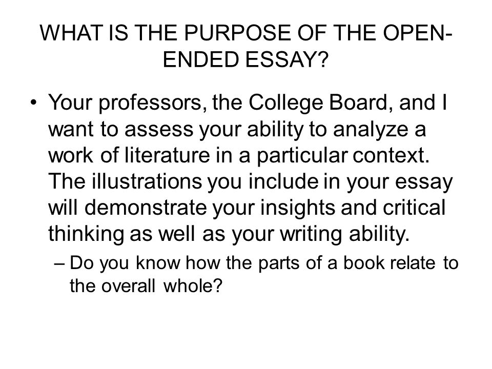 Open ended essay questions