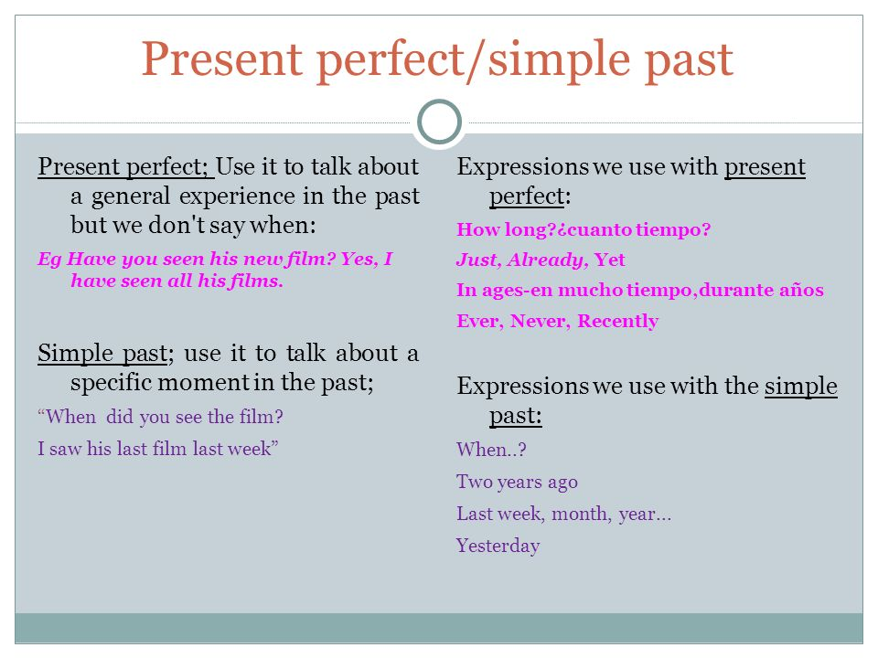 Present perfect/simple past