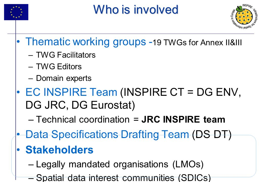 Who is involved Thematic working groups -19 TWGs for Annex II&III