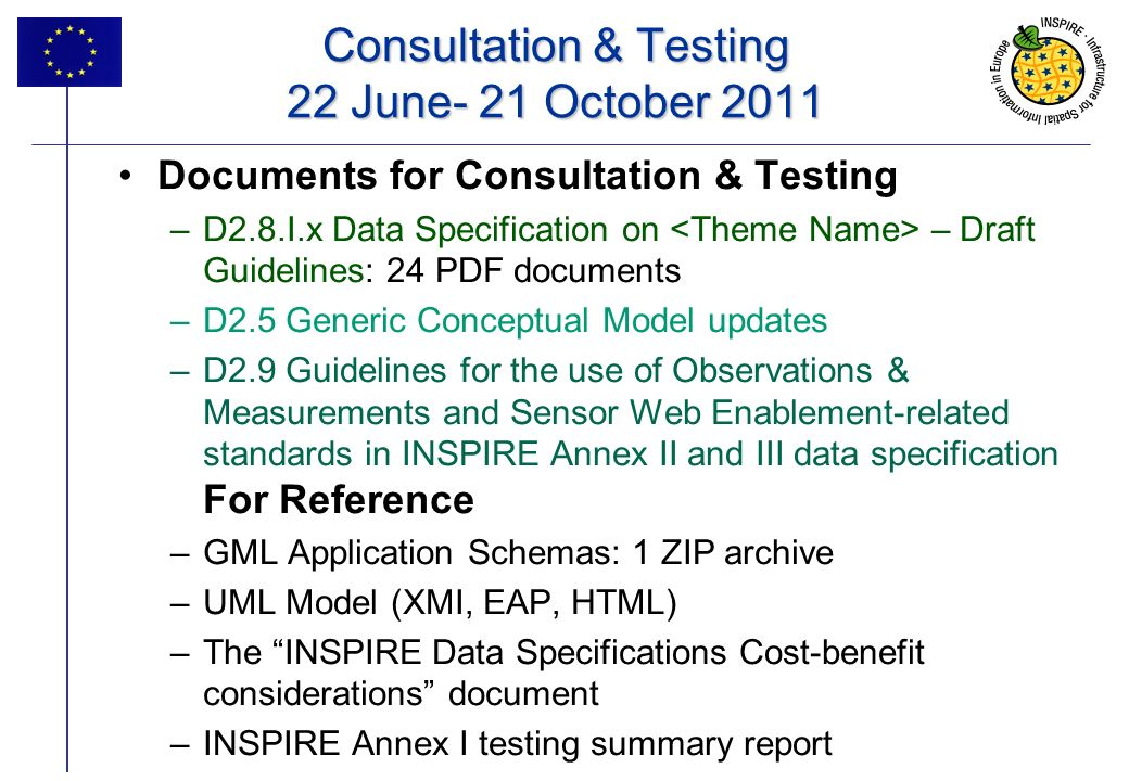 Consultation & Testing 22 June- 21 October 2011