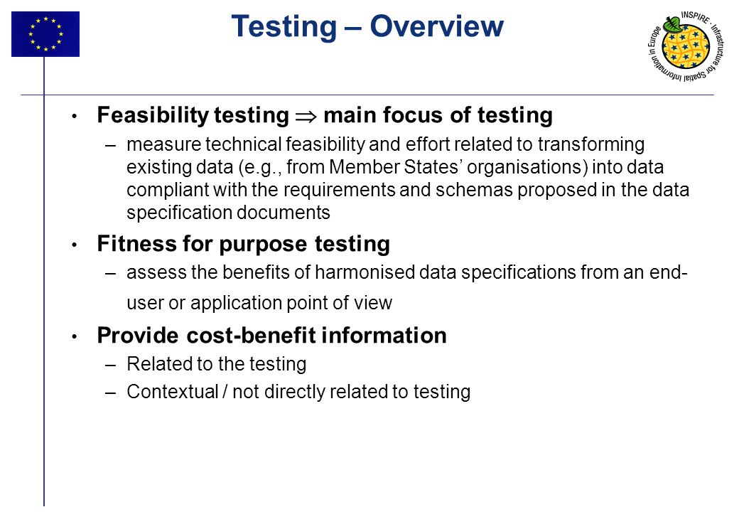 Testing – Overview Feasibility testing  main focus of testing