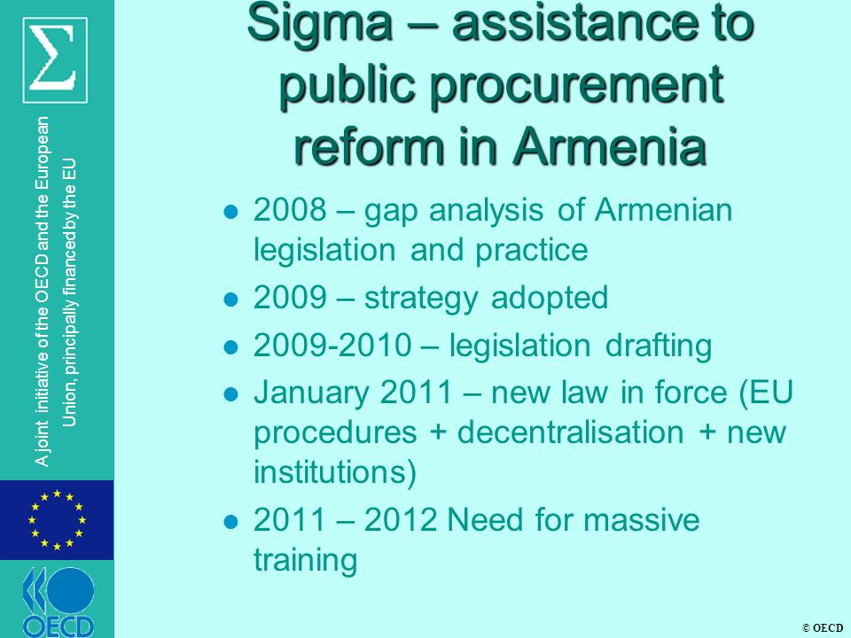 Sigma – assistance to public procurement reform in Armenia