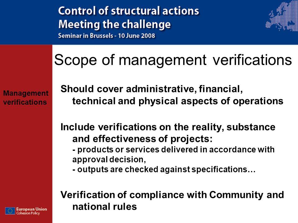 Scope of management verifications
