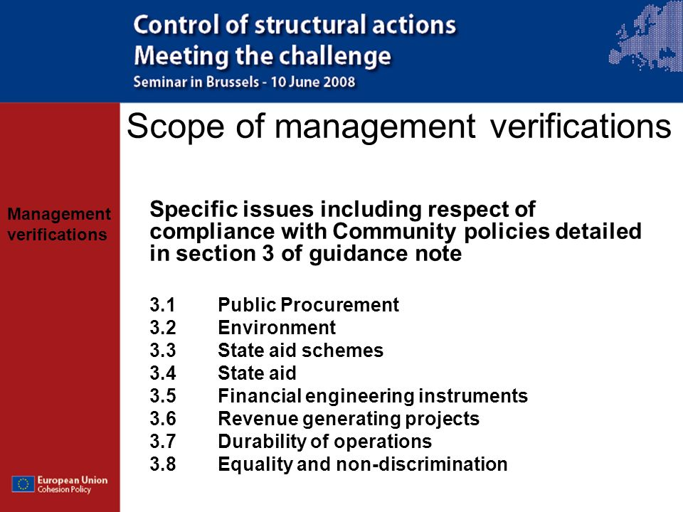 Scope of management verifications