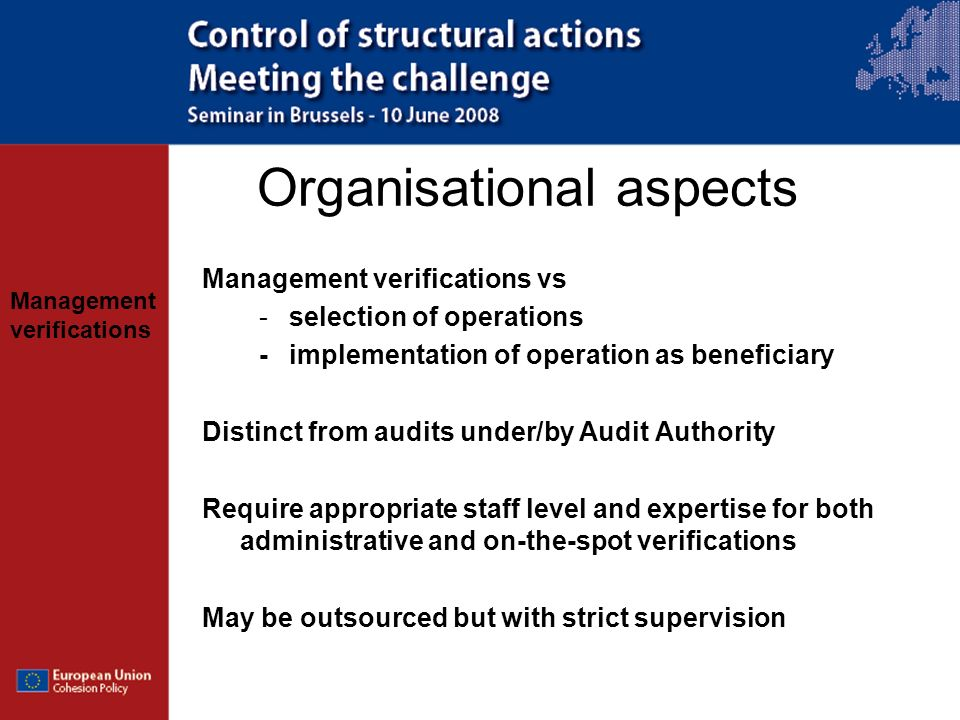 Organisational aspects