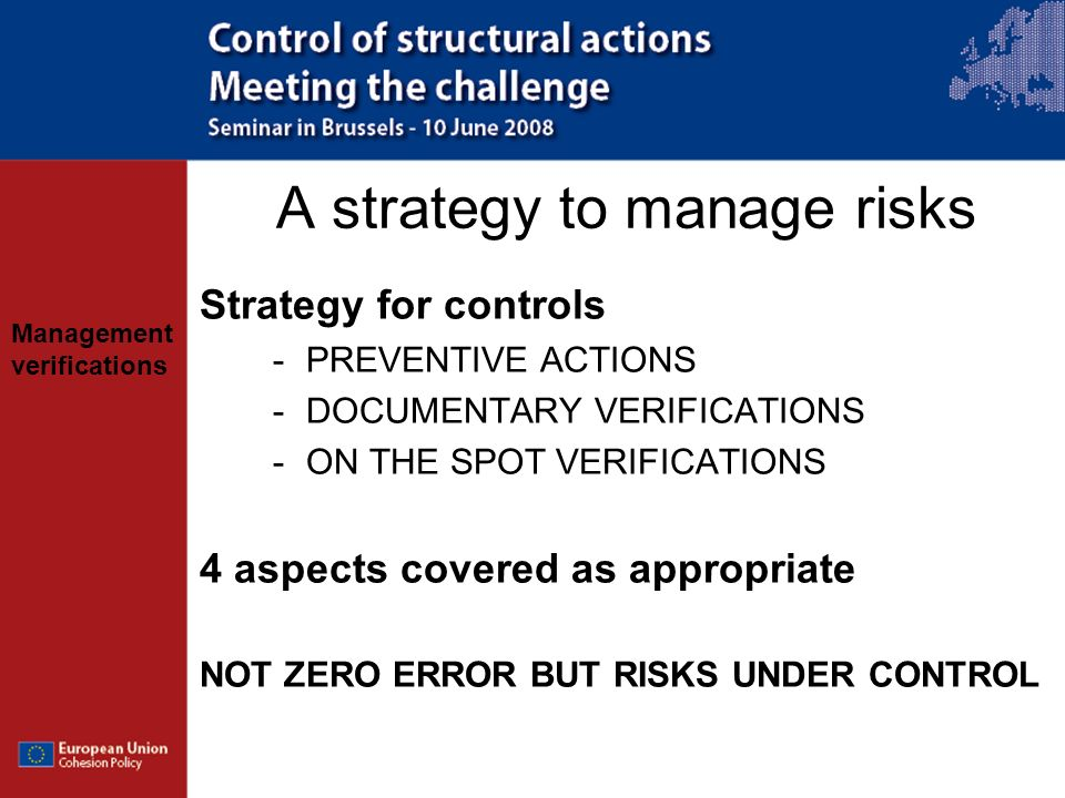 A strategy to manage risks