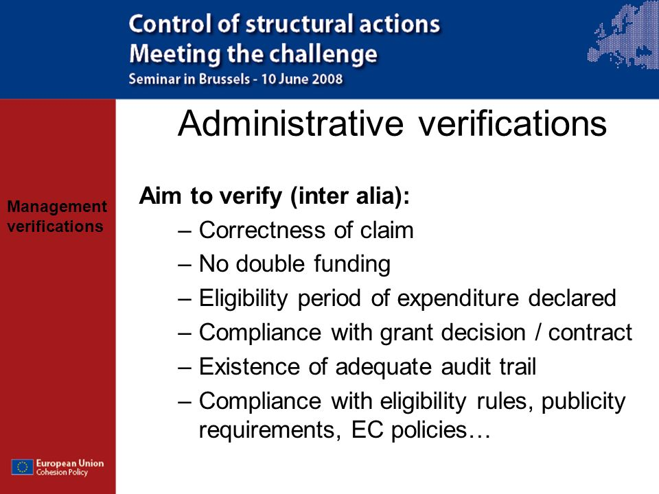 Administrative verifications