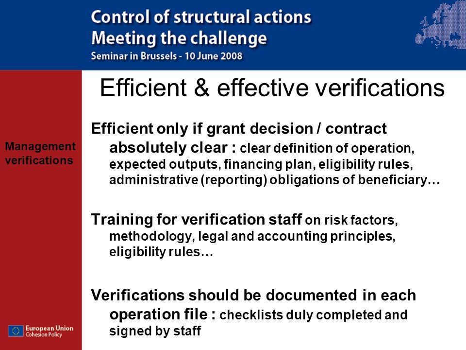 Efficient & effective verifications