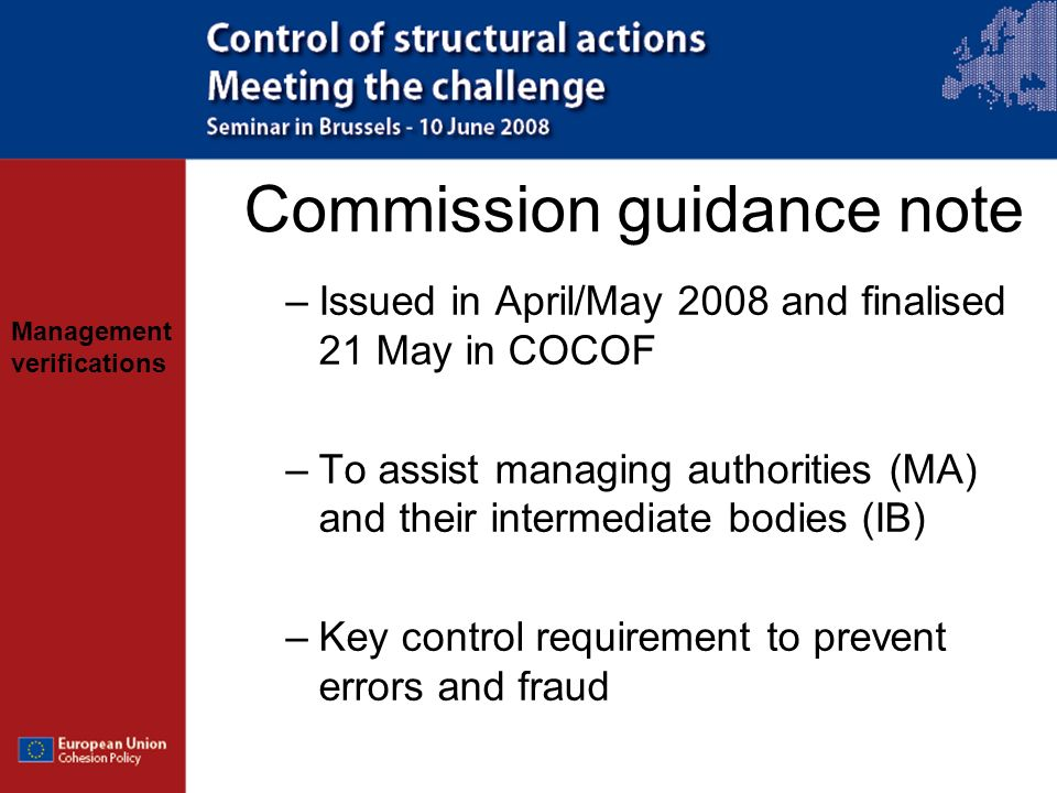 Commission guidance note