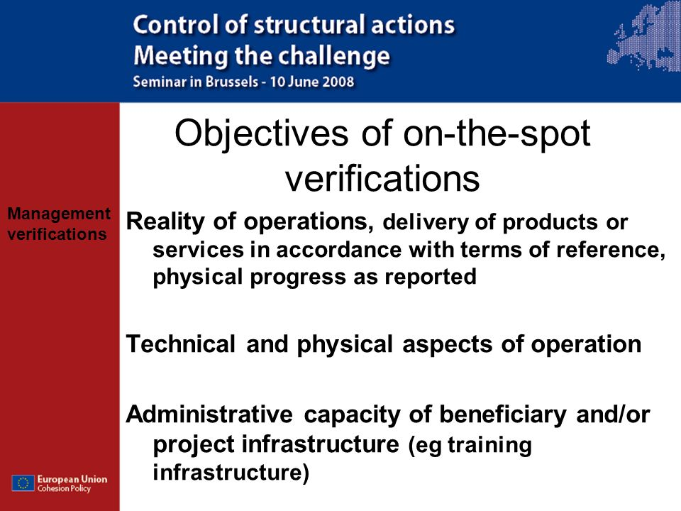 Objectives of on-the-spot verifications