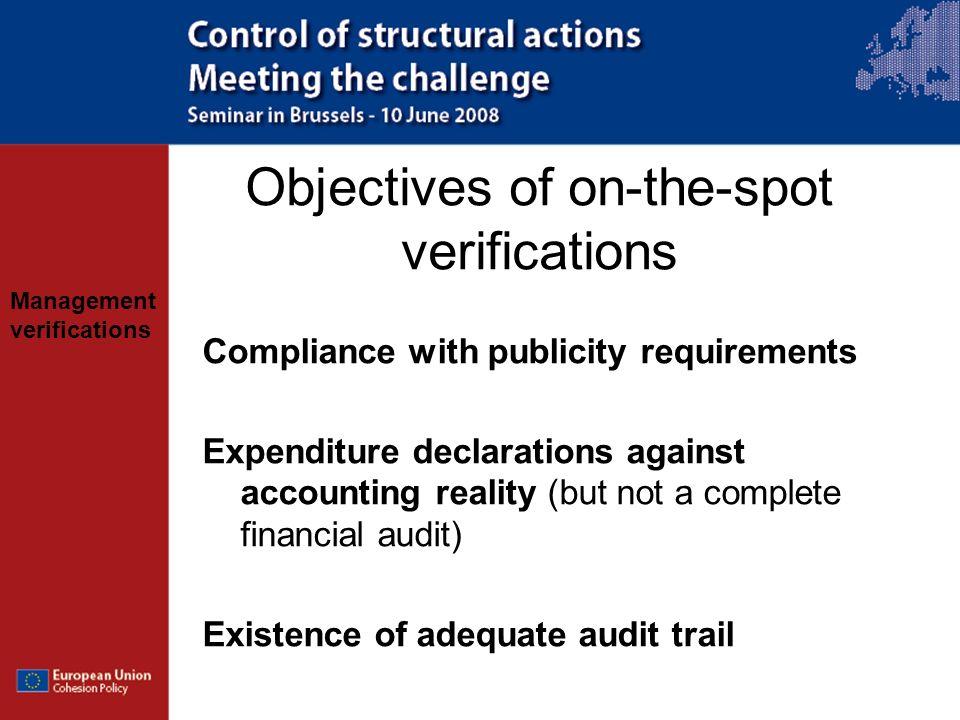 Objectives of on-the-spot verifications