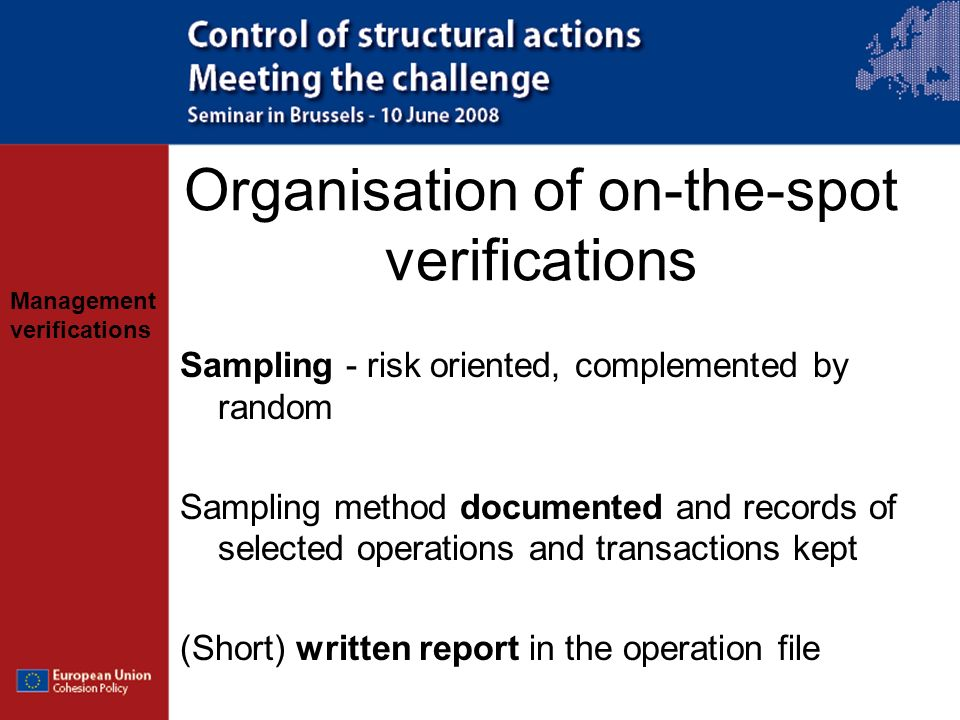 Organisation of on-the-spot verifications