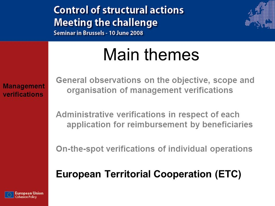 Main themes European Territorial Cooperation (ETC)