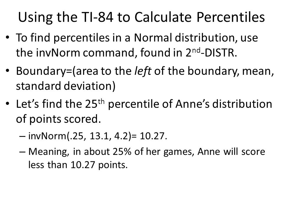 Chapter 8 standardized scores and normal distributions ppt video using the ti 84 to calculate percentiles ccuart Image collections