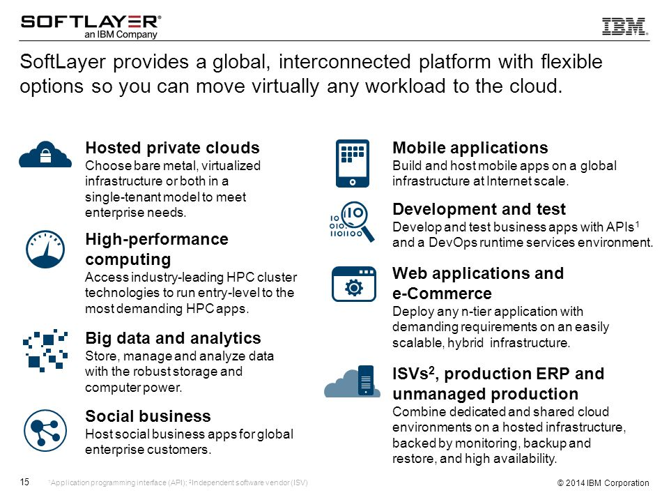 SoftLayer provides a global, interconnected platform with flexible options so you can move virtually any workload to the cloud.