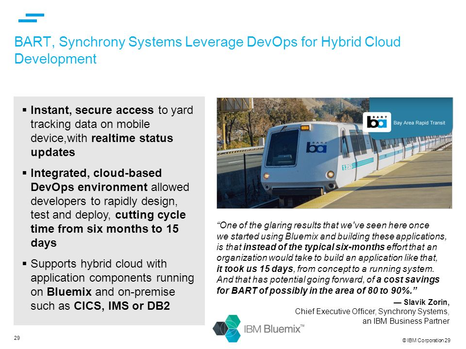BART, Synchrony Systems Leverage DevOps for Hybrid Cloud Development