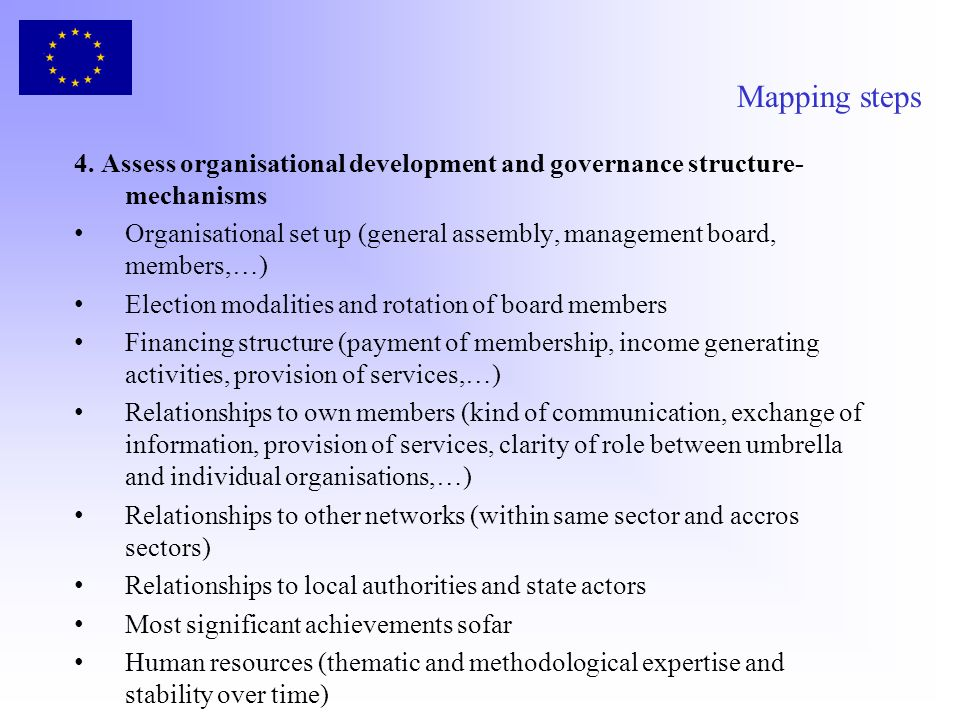 Mapping steps 4. Assess organisational development and governance structure-mechanisms.