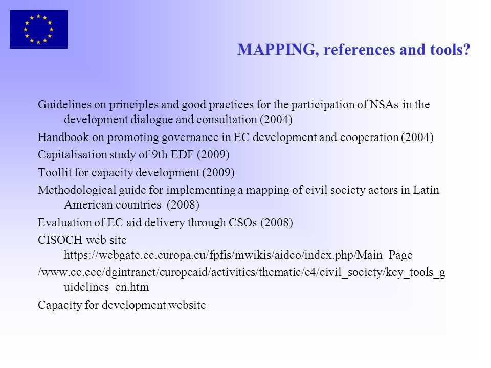 MAPPING, references and tools