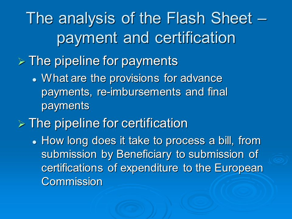 The analysis of the Flash Sheet – payment and certification
