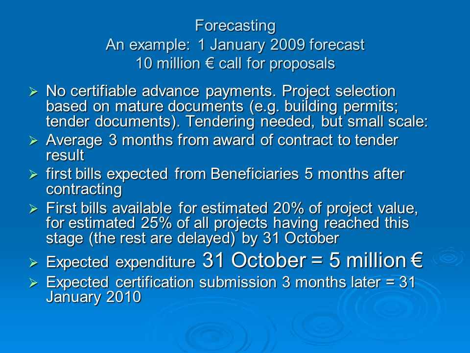 Forecasting An example: 1 January 2009 forecast 10 million € call for proposals