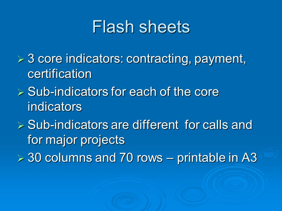 Flash sheets 3 core indicators: contracting, payment, certification