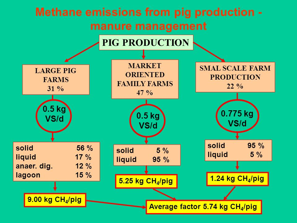 Methane emissions from pig production - manure management