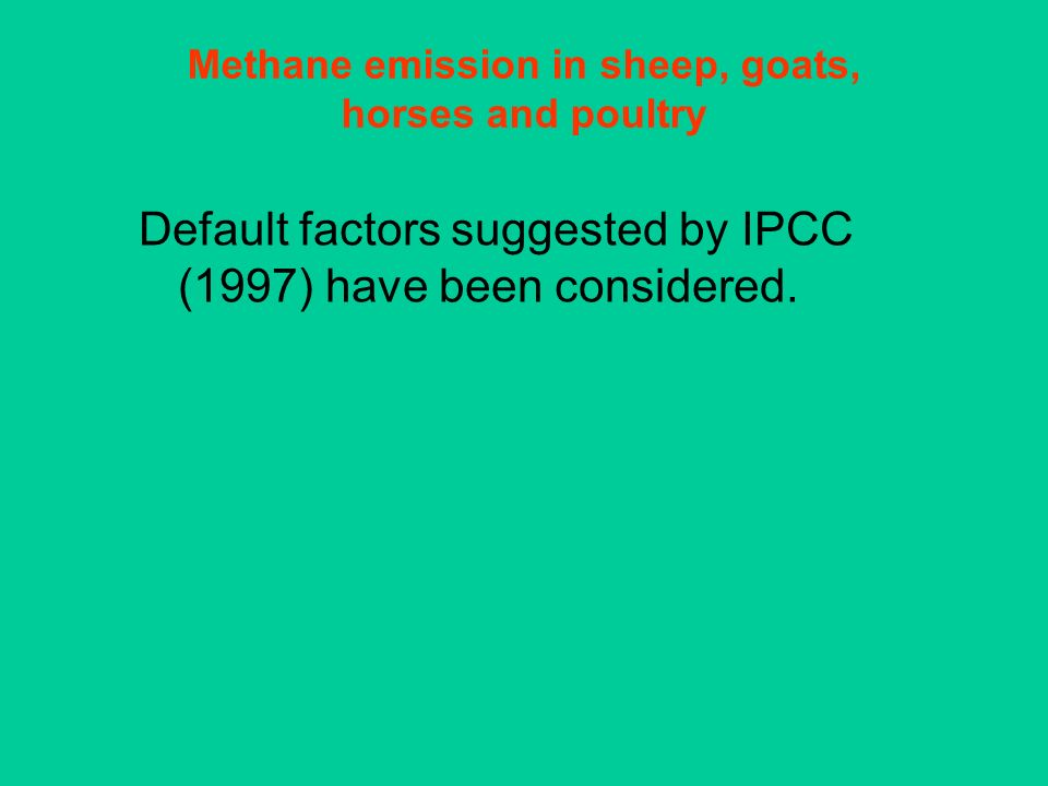 Methane emission in sheep, goats, horses and poultry