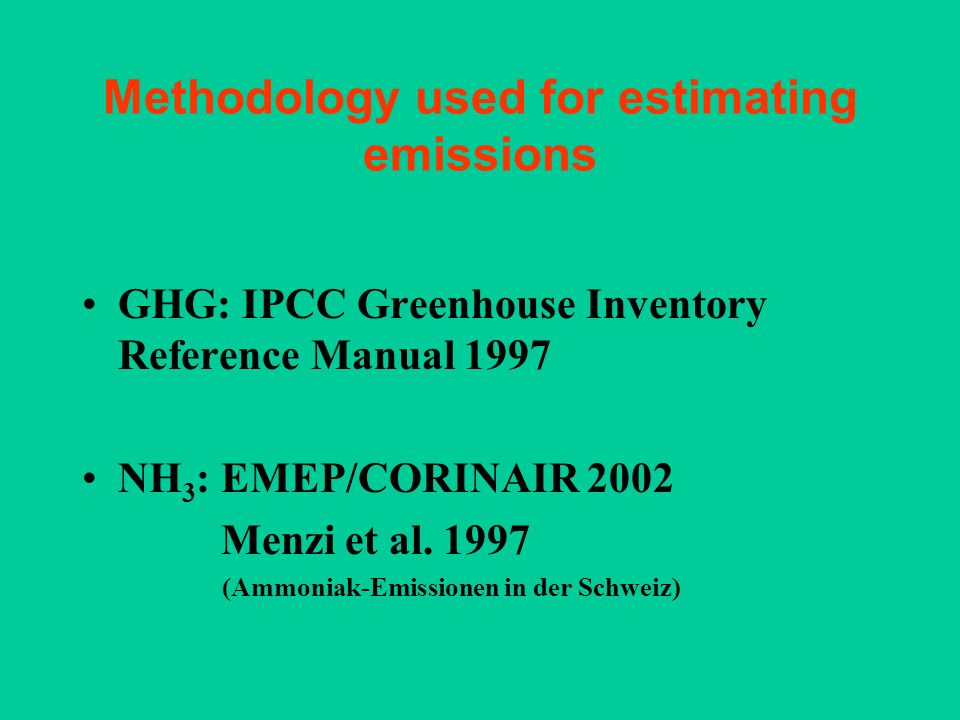 Methodology used for estimating emissions