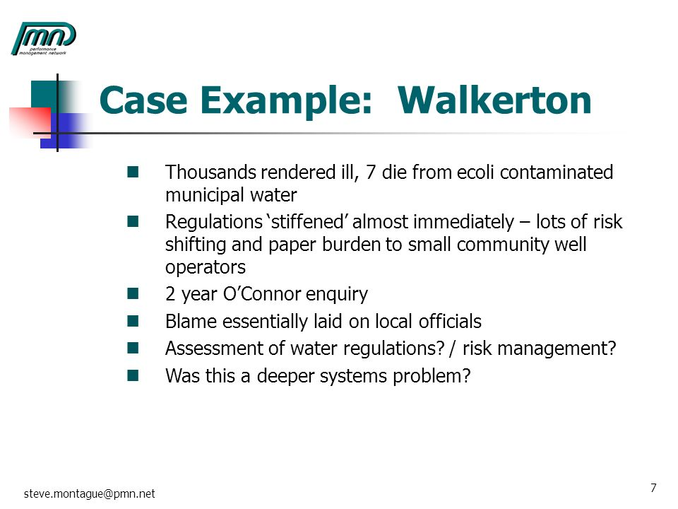 an analysis of the contaminated water at walkerton The most serious case of water contamination in canadian history could have been prevented by proper chlorination of drinking water, according to a judicial inquiry report about walkerton, ontario .