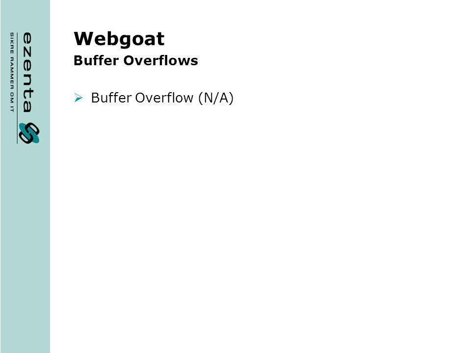 Webgoat Buffer Overflows Buffer Overflow (N/A)