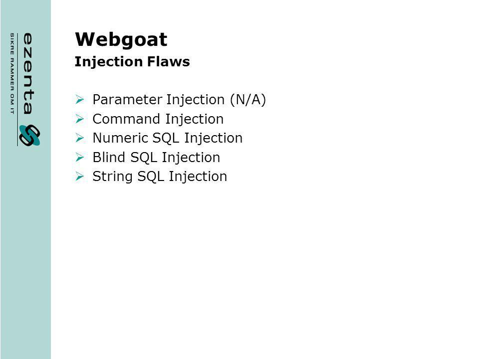 Webgoat Injection Flaws Parameter Injection (N/A) Command Injection