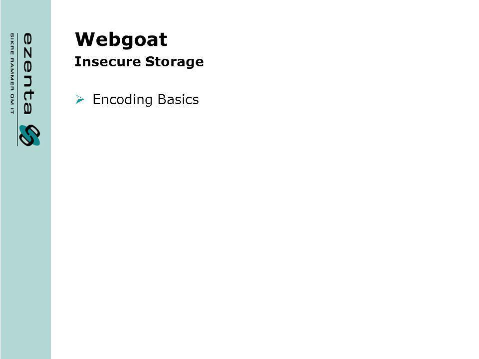 Webgoat Insecure Storage Encoding Basics