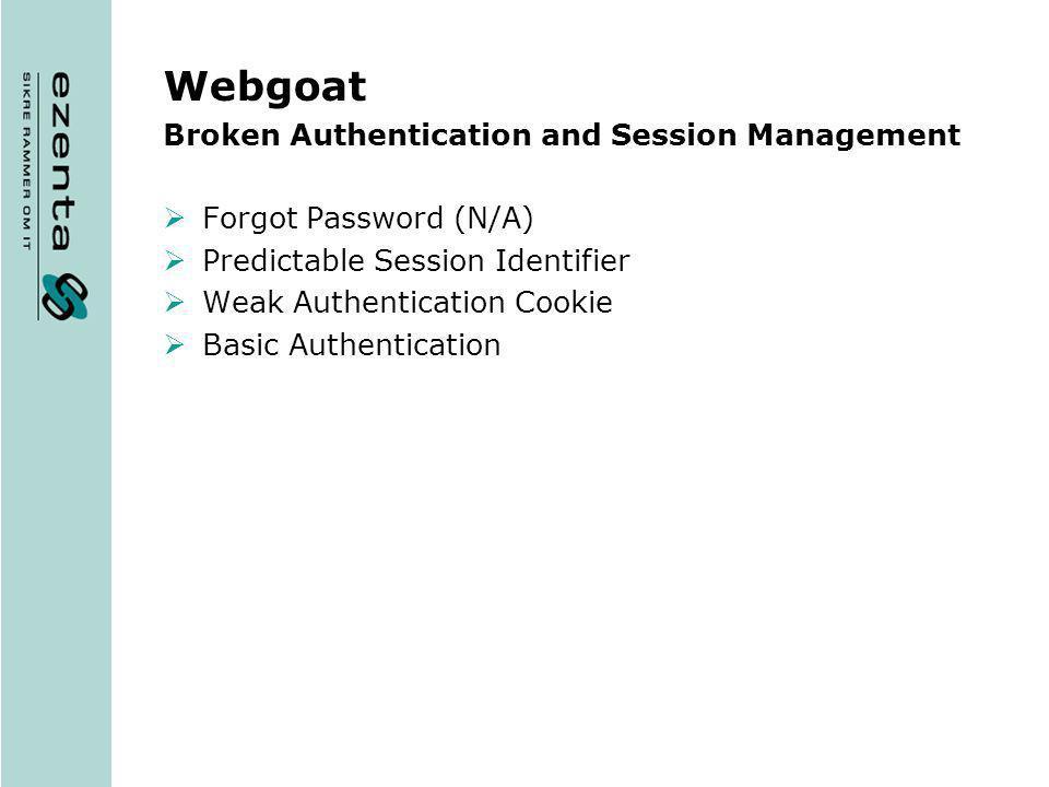 Webgoat Broken Authentication and Session Management